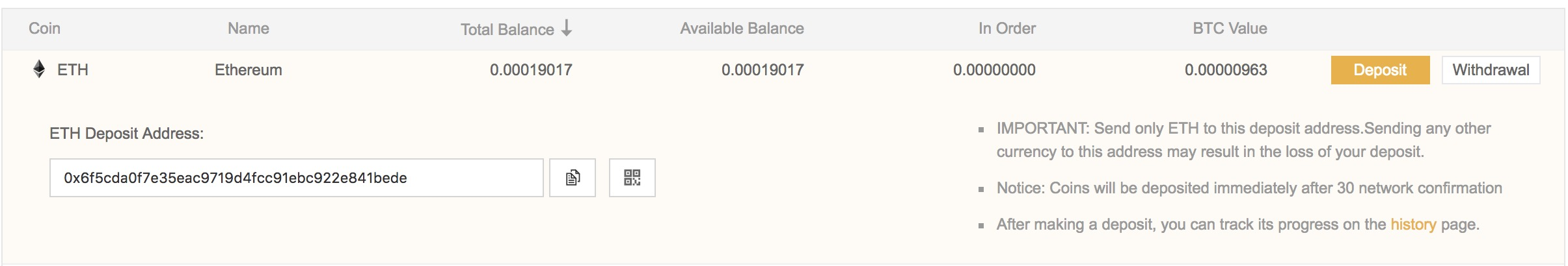 binace ethereum deposit